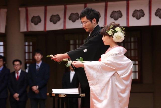 東郷神社挙式 白無垢 友禅色打掛