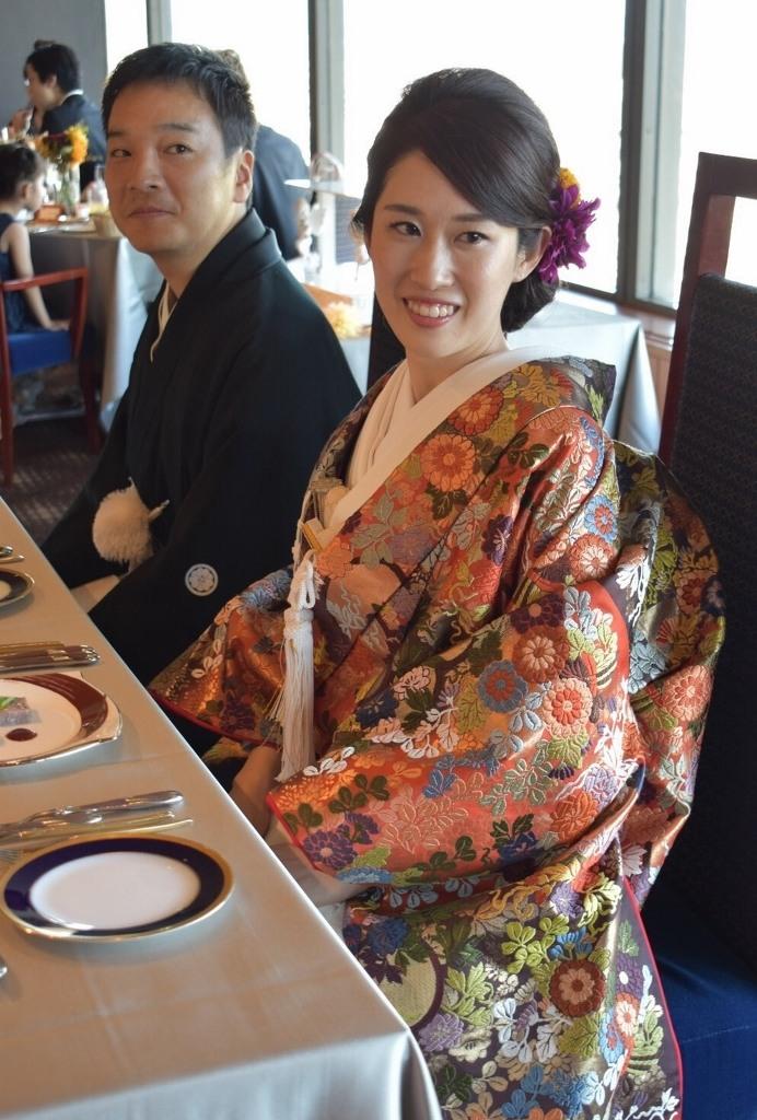名古屋キャッスルホテル挙式 白無垢、本唐織色打掛レンタル
